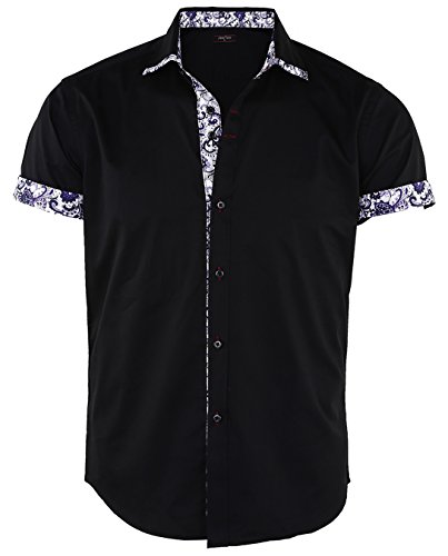JEETOO Men's Floral Shirts Short Sleeve Print Dress Shirt Button Down Summer Casual Shirt, (Small, Black)