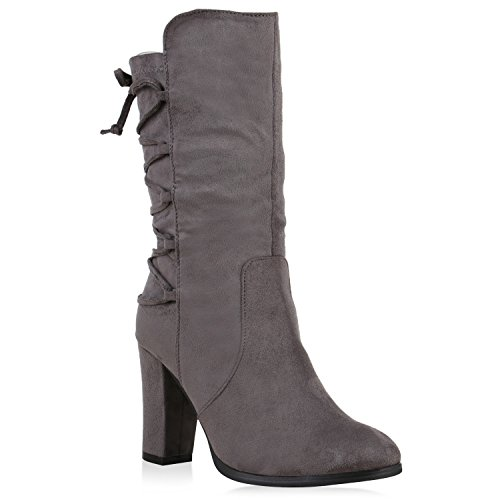 Gefütterte Damen Plateau-Boots Strass Stiefeletten Stilettos Flandell Grau Agueda