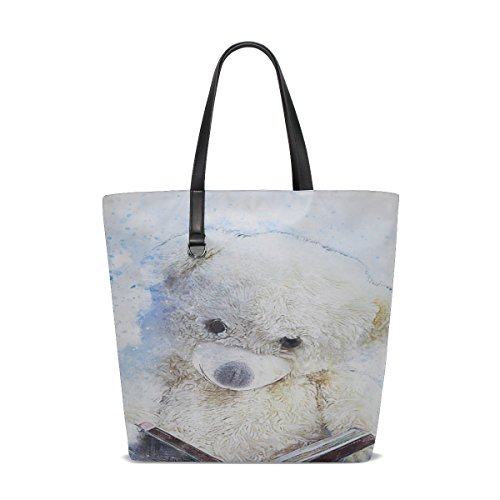 Dnoving Women Teddy Bear Sitting Art Abstract Watercolor Handle Satchel Handbags Shoulder Bag Tote Purse Messenger Bags