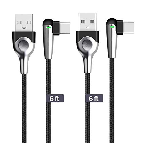 Cable with LED Light, 2 Pack 6ft 90 Degree Angle Braided Fast Charging Cord Compatible Samsung Galaxy Note 9 8 S9 S8 Plus,Pixel 3 2 XL,Nexus 6P 5X,LG V30,OnePlus 6 5T,Black Silver ()