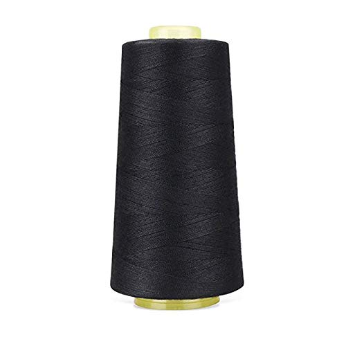 Polyester Sewing Thread Quilting Thread for Sewing Machine All Purpose Sewing Thread Cone for Serger Overlock Merrow Single Needle 3000 Yards Each (Black)
