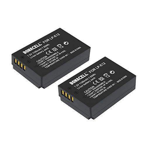 Bonacell 2 Pack 1100mAh Replacement LP-E12 Batteries for Canon EOS M100, Rebel SL1, EOS100D, EOS-M, EOS M2, EOS M10 Mirrorless Digital Camera (Lp E12 Replacement Batteries)