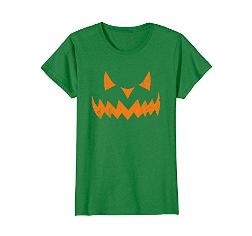 Womens Pumpkin Scary JACK O' LANTERN Halloween Costume Face T Shirt Large Kelly Green -