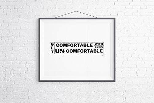 Rainbow Store Get Comfortable with Being Uncomfortable Printable Motivational Poster, Horizontal