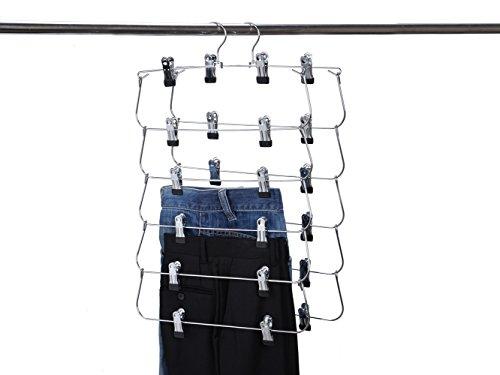 5 Quality Heavy Duty 6 Tier Skirt Pants Hanger Metal Foldable Organizer (5)