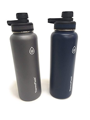 ThermoFlask 24-Ounce Double Wall Vacuum Insulated Stainless Steel Water Bottles 2-Piece (Grey/Dark Blue) by Thermoflask