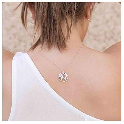 Olbye Women Simple Necklace World Map Necklaces for Women and Girls Globe Necklace Jewelry Minimalist (Silver) (World Globe Necklace)