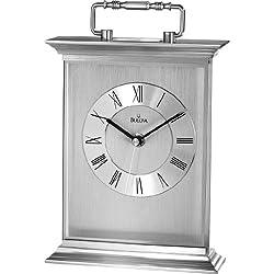 Bulova B7472 Newport Clock, Brushed and Polished Finish