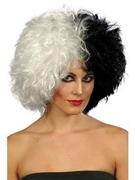 evil madam wig half black half white cruella de ville (peluca)