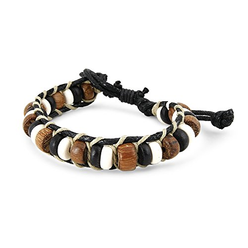 Coconut Coco Bracelets - JewelryVolt Beautiful Surf Surfer Cord Coco Wood/Bone Bead Bracelet - Adjustable Wristband