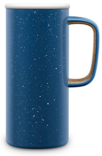 Steel Coffee Travel Mugs - Ello Campy Vacuum-Insulated Stainless Steel Travel Mug, Avalon Sea, 18 oz