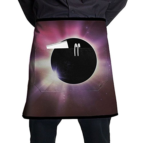Waist Short Apron Half Chef Apron With Pockets Solar Eclipse Home Kitchen Cooking Pinafore For Bistro Restaurant Cafe Pub BBQ Grill by Changan