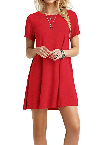 TINYHI Women's Swing Loose Short Sleeve Tshirt Fit Comfy Casual Flowy Tunic Dress, Red, Small Size