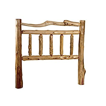 Rustic Red Cedar Log Double Top Rail Headboard Only - Twin Size- Amish Made USA