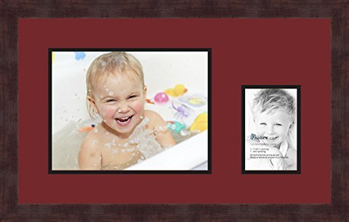 Art to Frames Double-Multimat-196-594/89-FRBW26061 Collage Frame Photo Mat Double Mat with 1-8.5x11 and 1-4x6 Openings and Espresso Frame