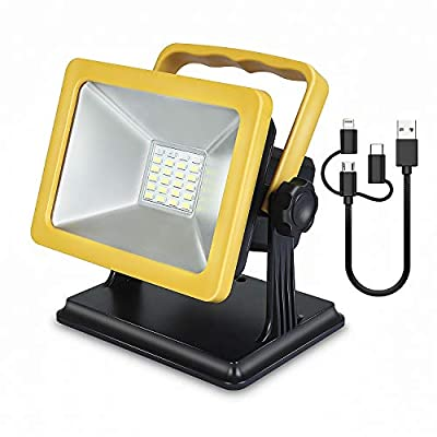 2019 New Work Light Portable Floodlight Outdoor Spotlights Camping Emergency Light [15W 24LED] Built-in Rechargeable Lithium Batteries (with USB Port to Charge Digital Devices and Special SOS Modes)