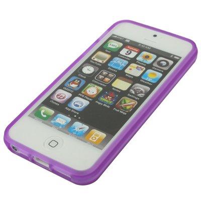 Gel-Schutzhülle für Apple iPhone 5(mit transparenter Displayschutzfolie, Violett