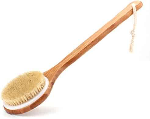 Bath Body Brush with Long Bamboo Handle – Natural Bristle Shower Brushes – Improves Blood Circulation, Exfoliates, Skin Health - Wet or Dry Back Scrubber