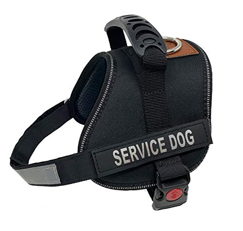 ALBCORP Service Dog Vest Harness - Reflective - Woven Polyester & Nylon, Comfy Mesh Padding, Small, Black