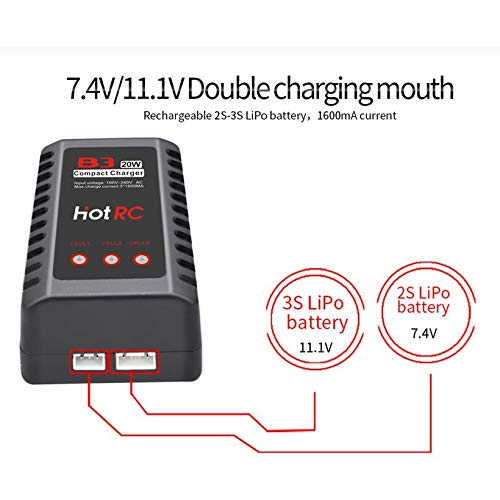 Wikiwand HOTRC B3 20W 1.6A AC Battery Balance Charger for 2S-3S RC LiPo Battery by Wikiwand (Image #4)
