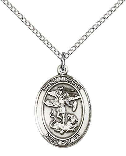F A Dumont Church Supplies Sterling Silver St. Michael the Archangel Pendant with 18'' Sterling Silver Lite Curb Chain. Patron Saint of Police Officers/EMTs by F A Dumont Church Supplies