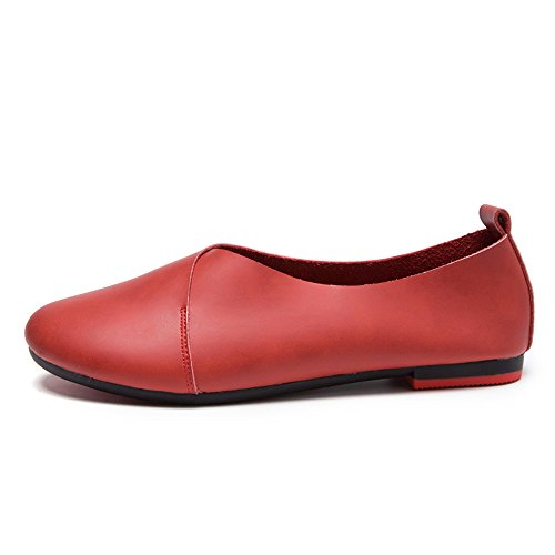 Ballerina xiaoyang Shoes Ballet Womens Flats Toe Red Round XAS4qX