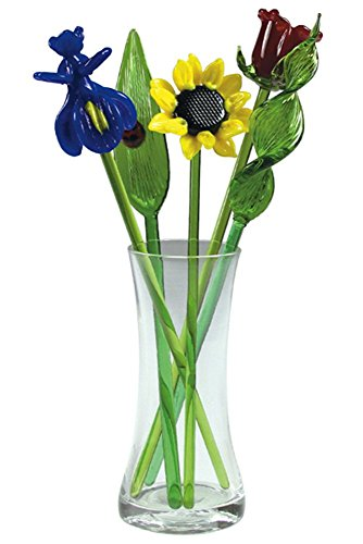 - Red Co. Crystal Glass Lovely Flower Bouquet with Vase, Gift Boxed - Summer Bouquet