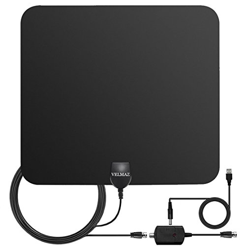 TV Antenna, 50 Mile Range Indoor HDTV Digital Antenna with Detachable Amplifier Signal Booster Better Reception, USB Power Supply and 13.2ft High Performance Coaxial Cable, Black