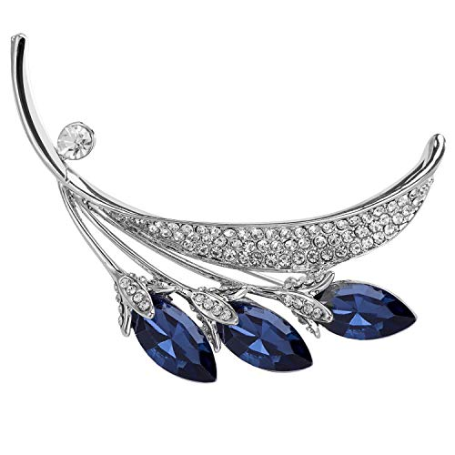 VVANT Brooches for Women with Blue Crystal,Sliver Zircons Brooch Pins,Fashion Brooch Gifts for Christmas/Wedding/Birthday(Cymbidium Sliver)