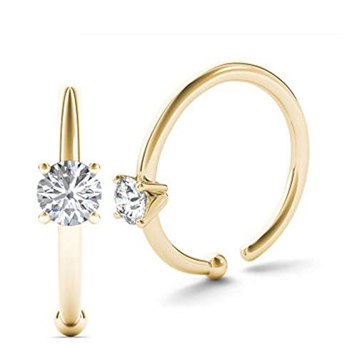 JewelMore 0.01ct Diamond Nose Ring Hoop, 14KYellow Gold