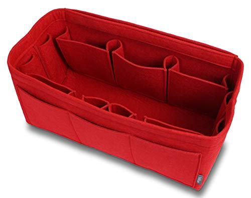 - Pelikus Felt Purse & Tote Organizer Insert/Multi-Pocket Handbag Shaper (X-Large, Red)