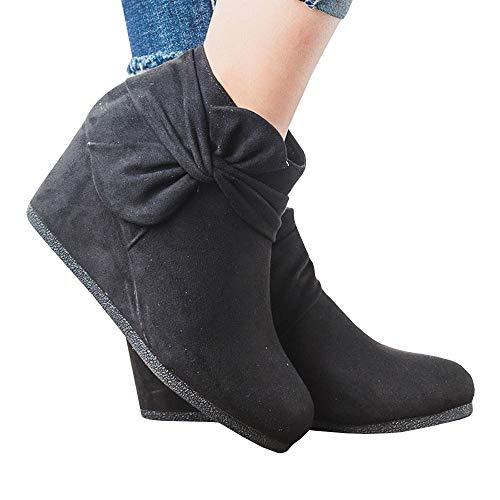 Boots Heels Knot Zipper Suede Women's Wedge Ankle Side Booties Platform Faux black 1 Bow Dress X7w5q