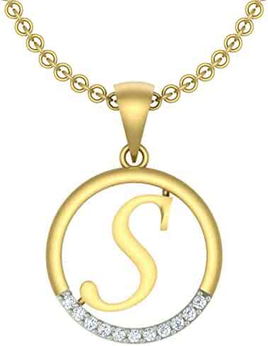 0.25Ct Round Simulated Diamond Couple HeartALetter Pendant With 18 Chain 14k Yellow Gold Plated 925