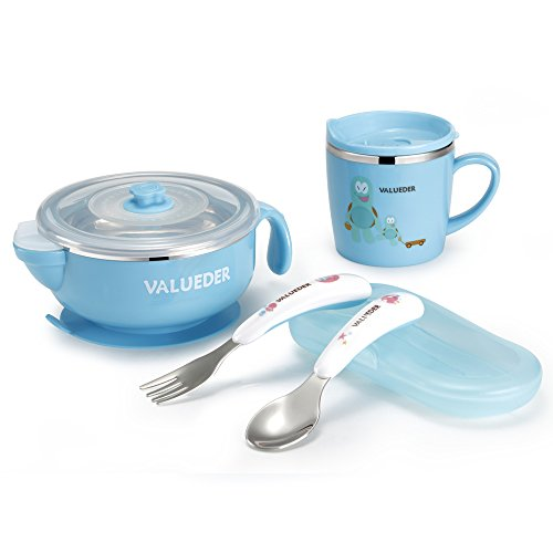 Toddler Meal Set Anti-scald Stainless Steel, 300ml Feeding Warm Bowl with Lid, 210ml Water Cup and Utensils for Babies by Valueder from VALUEDER