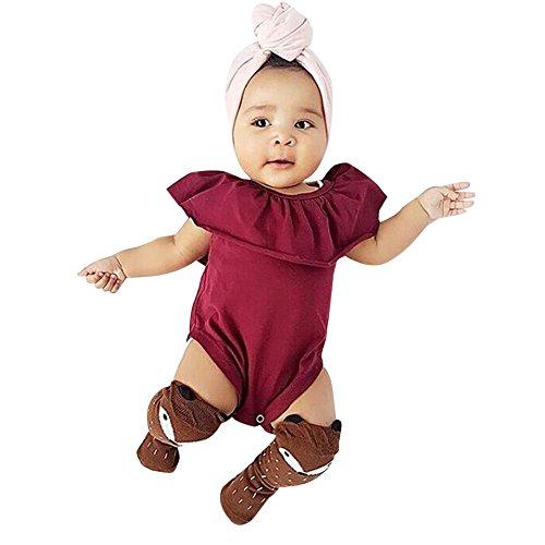 Willsa Newborn Baby Girls Solid Butterfly Romper Jumpsuit Costume (6-12M, Red) -