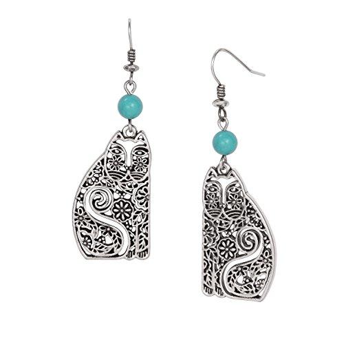 (Laurel Burch Elijah's Garden Dangle Earrings Turquoise Bead Accents)