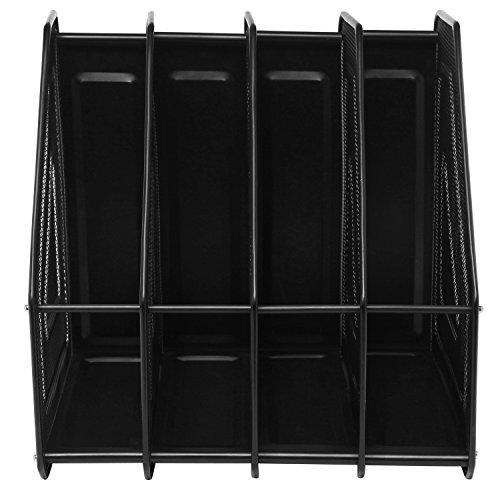 Mesh Metal 4 Compartment Freestanding Desktop Documents / Magazines / Notebooks / Folder Organizer Rack by MyGift