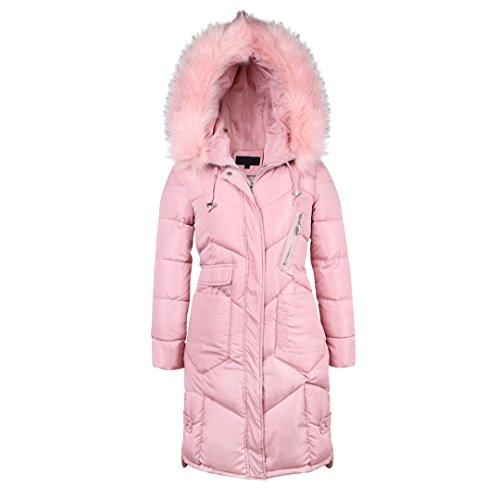 (Kranchungel Women's Thicken Oversized Hooded Long Faux Fur Trim Winter Coat Warm Jacket X-Large Pink)