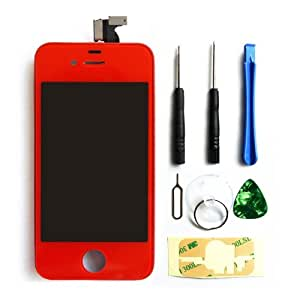 TOTO® GSM Full Assembly + Tools with Touch Screen Digitzer Display, Front LCD, Back housing, Home Button and Installation Tools for Apple iPhone 4 (AT&T)(iphone 4 Red)