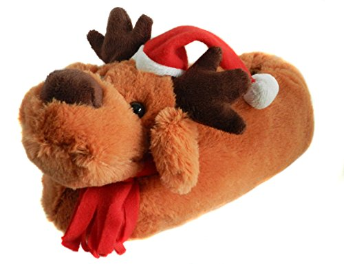 Onmygogo Fuzzy Animal Christmas Moose Slippers for Men and Women Red XRASeS