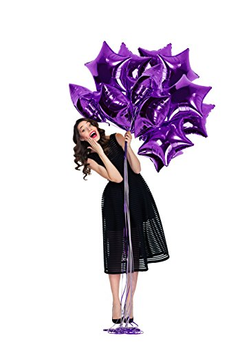 Treasures Gifted 18 Inch Purple Star Mylar Balloons Foil Decorations for Mermaid Birthday Under The Stars Party Sweet 16 or Tropical Sea Graduation (12 Pack)