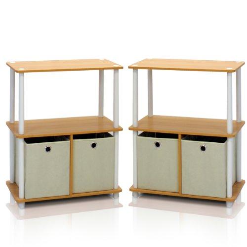 Furinno 2-99152BE Go Green 3-Tier 2-Bin Multi-Purpose Storage Shelf Set of 2 , Beech