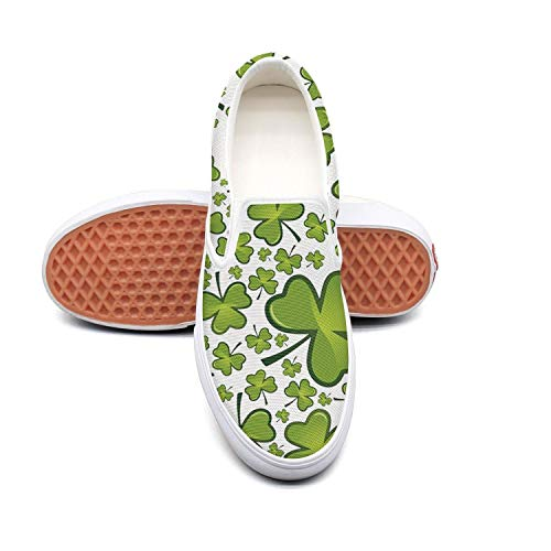 - Shamrock happy St. Patrick's Day white Canvas Sneakers for Men Low Top Quick-Drying Running Shoes