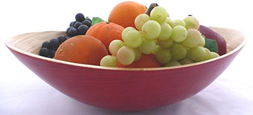 Bambus-Schale 'Bootform', Farbe: Rot, Größe: 35x28x11cm, geeignet für Obst, Pasta, Salat und mehr, Handarbeit (07L)(Rot, 35x28x11)