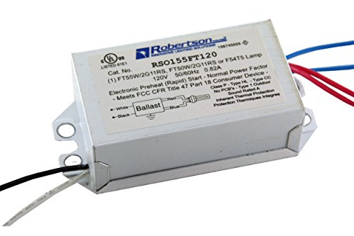 ROBERTSON 3P20100 RSO155FT120 /A Fluorescent eBallast for 1 FT55W/2G11/RS CFL Lamp, Preheat Rapid Start, 120Vac, 50-60Hz, Normal Ballast Factor, NPF - Npf Electronic Ballast
