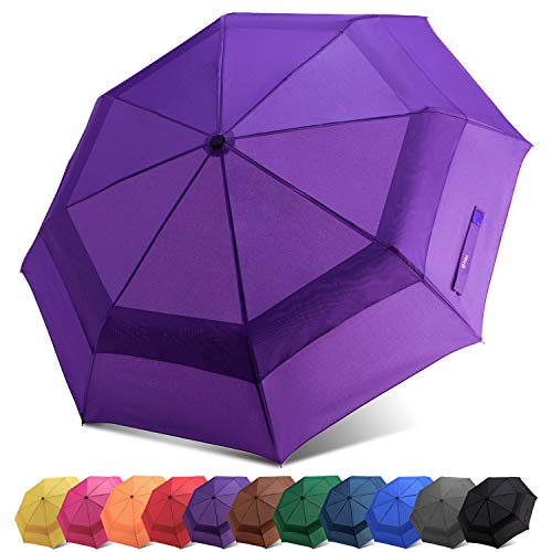 Fidus Compact Windproof Vented Automatic Travel Umbrella with Double Canopy - Large Lightweight Folding Car Golf Umbrella for Women Men Kids-Purple