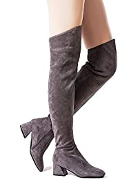 d3d679a1595 Women Stretch Suede Chunky Heel Thigh High Over The Knee Boots