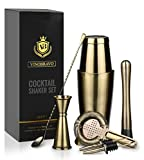 Boston Cocktail Shaker Bar Set By VinoBravo: 18oz & 28oz Shaker Tins, Hawthorne Cocktail Strainer, Double Jigger, 12'' Mixing Spoon, 7'' Drink Muddler and Recipes (Antique Brass)