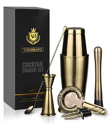 Boston Cocktail Shaker Bar Set By VinoBravo: 18oz & 28oz Shaker Tins, Hawthorne Cocktail Strainer, Double Jigger, 12'' Mixing Spoon, 7'' Drink Muddler and Recipes (Antique Brass) by VinoBravo