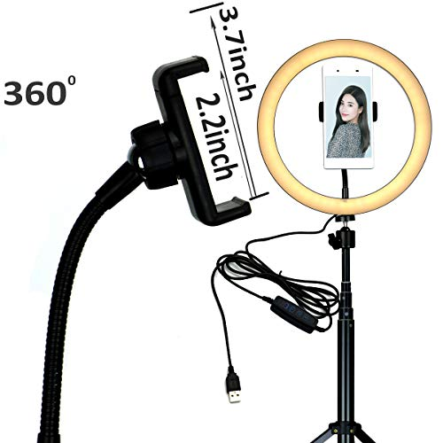 10'' Selfie LED Ring Light with Tripod Stand &Cell Phone Holder Desktop Lamp Mini Led Camera Light for YouTube Video and Live Makeup/Photography by COOSPIDER (Image #3)